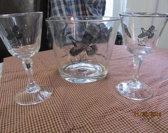 Vintage Antique Federal Platinum Sportsman Wine Glasses & Ice Bucket Grouse Canvasback Ring Necked Pheasant Wild Game Birds