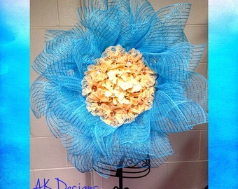 Flower mesh wreath