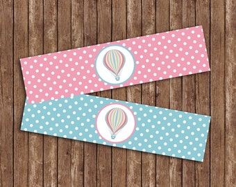 Hot Air Balloon Water Bottle Labels