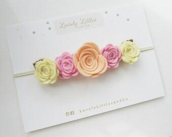 Sorbet Flower Crown girl/baby headband Cream, Pink and Peach Pure wool felt.