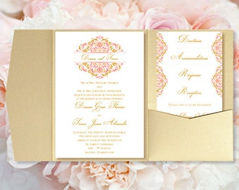 """DIY Pocketfold Wedding Invitations """"Grace"""" Coral & Gold Printable Templates Instant Download Order Any 1 or 2 Colors Editable Word You Print"""