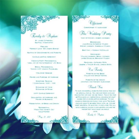 wedding program template vintage lace teal blue. Black Bedroom Furniture Sets. Home Design Ideas