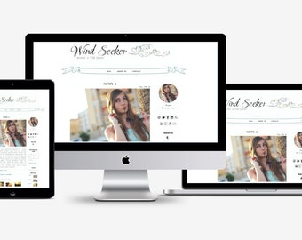 Premade Wordpress theme, modern template, romantic blog design, white background, swirls, banner