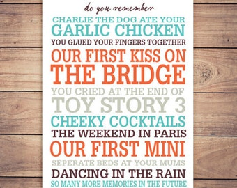 Personalised Memory Print - Do you Remember…? The perfect unique gift!