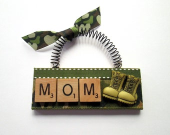 Military Mom Combat Boots Scrabble Tile Ornament