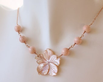 Plumeria Shell Necklace, Pearl Plumeria Necklace, Beach Wedding Necklace, Carved Plumeria Necklace, Gifts for Her, Hawaiian Plumeria