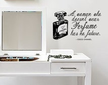 Wall Decal Quote - Coco Chanel - Perfume quote and Bottle - Removable Vinyl decal quotes 22inch