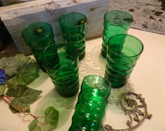 Set of 6 Mid Century Anchor Hocking Fire King Rippled Forest Green Tumblers Glasses