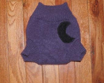 Small Purple Cashmere Diaper Cover with Black Moon