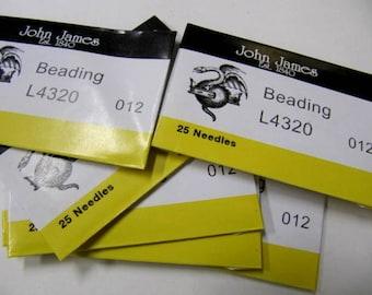 Beading Needles, 2 inch Long, Size 12 Needles, 25 Pack, John James Needles, English Needles, Bead embroidery, Sewing, Loom
