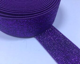 Purple Glitter Elastic, shimmery elastic, 1 in glitter elastic, 1 in purple elastic