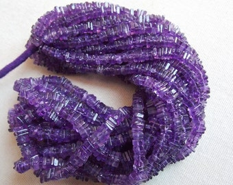 "1. Strand 16"" Amethyst Heishi Shape Beads 5 MM Approx Finest AAA Quality 100% Natural Wholesale Price New Arrival (pme)"