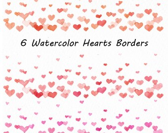 Watercolor hearts borders clipart, confetti clip art, hearts overlay, PNG, Watercolour clipart, For Personal and Commercial use