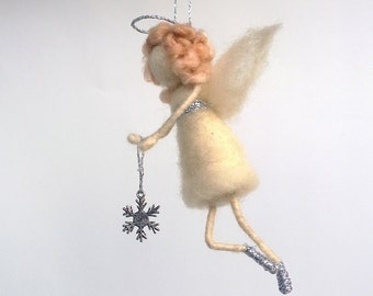 Christmas angel silver snowflake ornament Waldorf angel Christmas tree angel Hanging figurine Holiday gift idea Xmas décor Felt angel Rustic