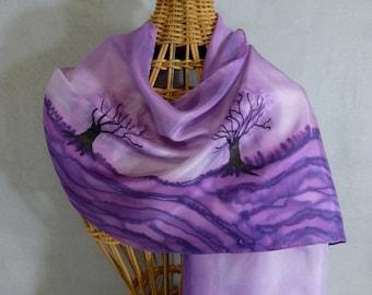 "Silk Scarf ""Purple Trees"", Hand Painted Silk Scarf"