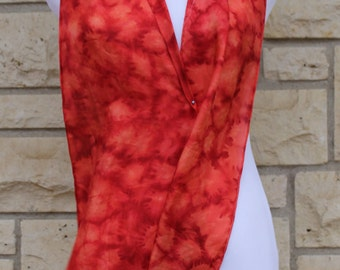 """Hand painted Habotai silk scarf 8""""x72"""" Red  abstract scarf, red silk scarf,"""