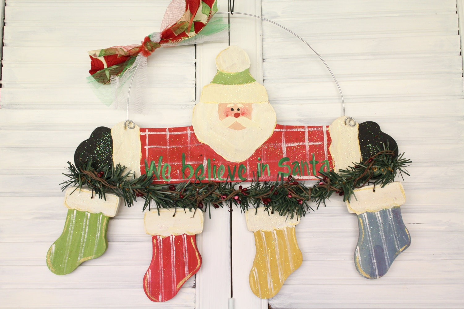 Santa Clause Stockings Hand Painted Wood Christmas Sign