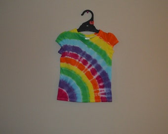Girls rainbow tie dye hippy shirt - Size 3