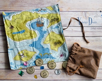 Pirate Treasure Map with Drawstring Bag of Coins/Gems