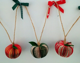 Apple Book Art Bunting with bows Eco by the metre