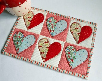 Half Hearted Mug Rug Pattern