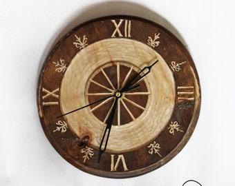 Wooden clock , Poplar wood clock , Handcrafted clock , wall clock