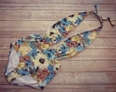 Swimsuit High Waisted Vintage Style One Piece Retro Pin-up Swimming Costume Blue Floral Print Bathing Suit Swimwear  Unique Pretty So Cute!
