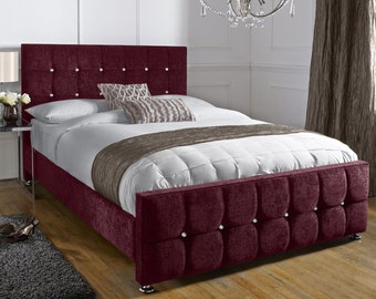 Jacobs Aubergine Upholstered Crystal Buttoned Chenille 4ft6 Double, 5ft King Size, 6ft Super King Bed Frame