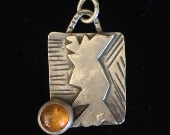 Sterling silver and amber pendant. Handmade, one-of-a-kind art jewelry
