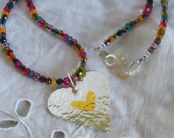 Hammered silver heart with gold keum boo detail, gemstone beads and sterling silver clasp