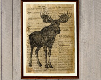Moose print Rustic Cabin decor Animal illustration WA476