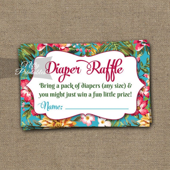 tropical diaper raffle tickets hawaii floral by