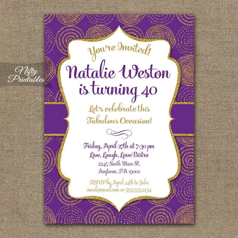 Purple Gold Birthday Invitation 30th 35th 40th 45th 50th 55th – Birthday Invitation 60th Party