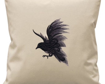 Painted Raven Embroidered Cushion Cover