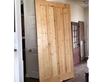 Custom Made Sliding Barn Door   Board U0026 Batten Striped   Honeytone