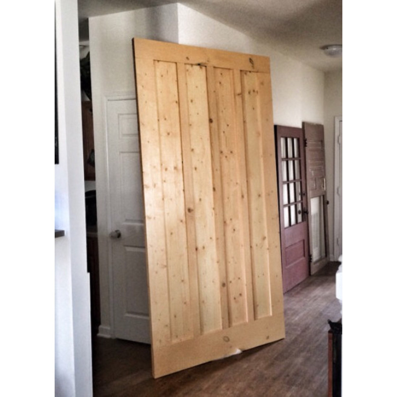 Custom made sliding barn door board batten striped for Custom sliding doors