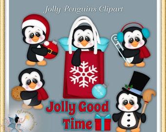 Jolly Christmas Penguin Clipart