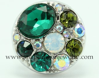 SNAP Jewelry - Snapdragon Jewelry, Noosa Chunk, Snap Button, Popper Charm Jewelry - Crystal Cluster (Green & Iridescent)
