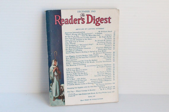 READER'S DIGEST December 1943 Vintage Magazine Vintage