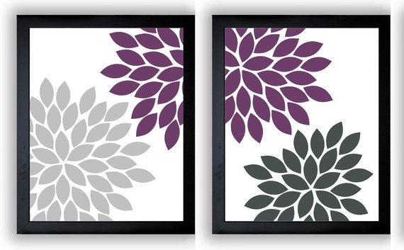 plum purple silver grey chrysanthemum flowers set of 2 art. Black Bedroom Furniture Sets. Home Design Ideas