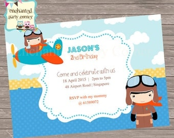 Fly in the Sky Cute Pilot Birthday Invite