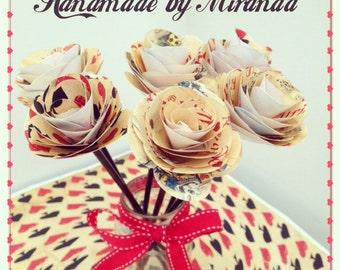 Decorative alice in wonderland handmade paper flowers x 6