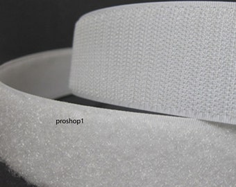 """1"""" Velcro adhesive 15 ft sticky back hook and loop Tape Fabric Glue 5 yards WHITE"""