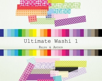 Ultimate Washi Clipart - 448 pieces - Personal and Commercial Use - Instant Download - Rainbow R369