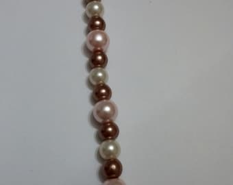 Pink, Brown, and White Neapolitan Pearl Bracelet