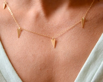 Tiny Spike Necklace // Gold Filled Delicate Necklace // Delicate Dangle Charm Necklace