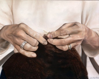 My mothers hands. An original oil painting of a grandmother's hands, gracefully knitting.