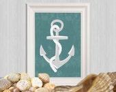 Anchor printable Teal Beach art print Nautical print Teal Bathroom decor Teal Beach house decor Sea art Gift idea Ocean art INSTANT DOWNLOAD