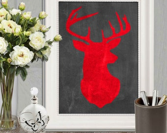 Red Deer print Red and black Stag head Chalkboard Wall art Boy Bedroom art Red  Bedroom wall Decor Hunting wall art Woodland Animal DOWNLOAD