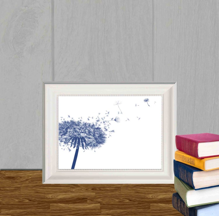 Dandelion Decor Print Navy Blue Home Decor Navy By DorindaArt